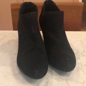 Black suede booties.  Size 9 1/2